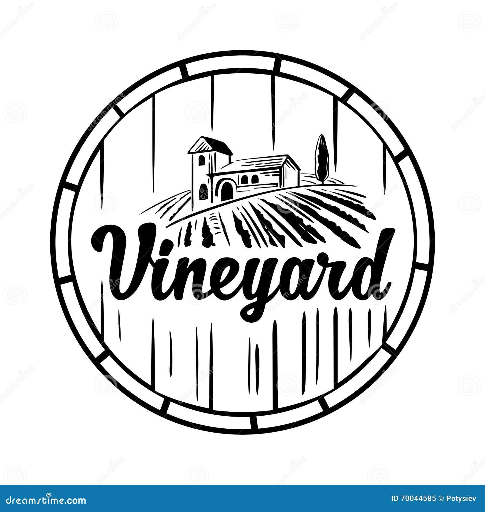 rural landscape with villa  vineyard  wooden barrel