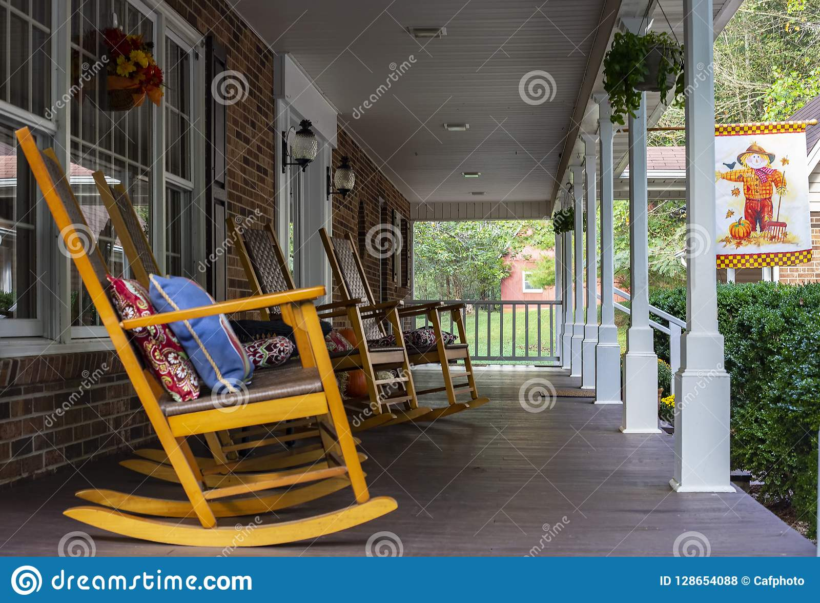 Rocking Chairs On Front Porch In North Carolina Stock