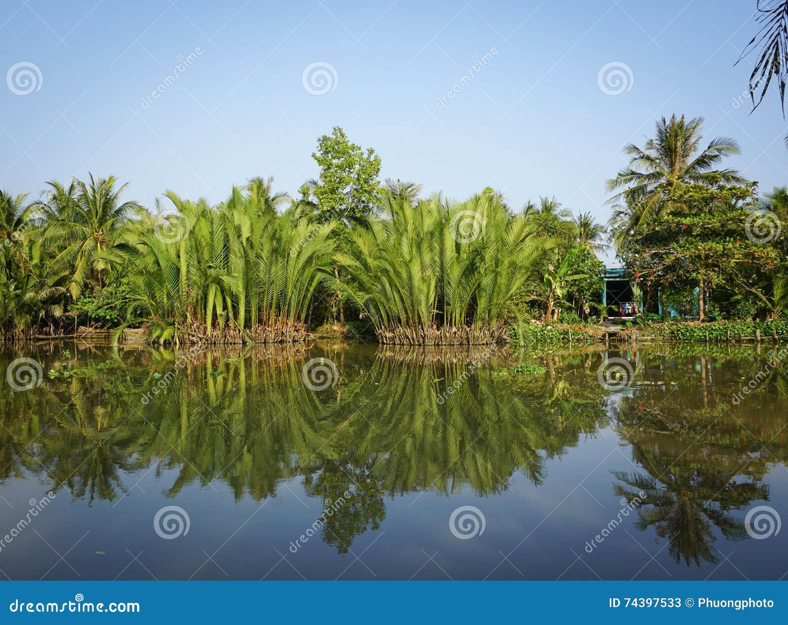 Rural scene with the river in Sadek, Vietnam