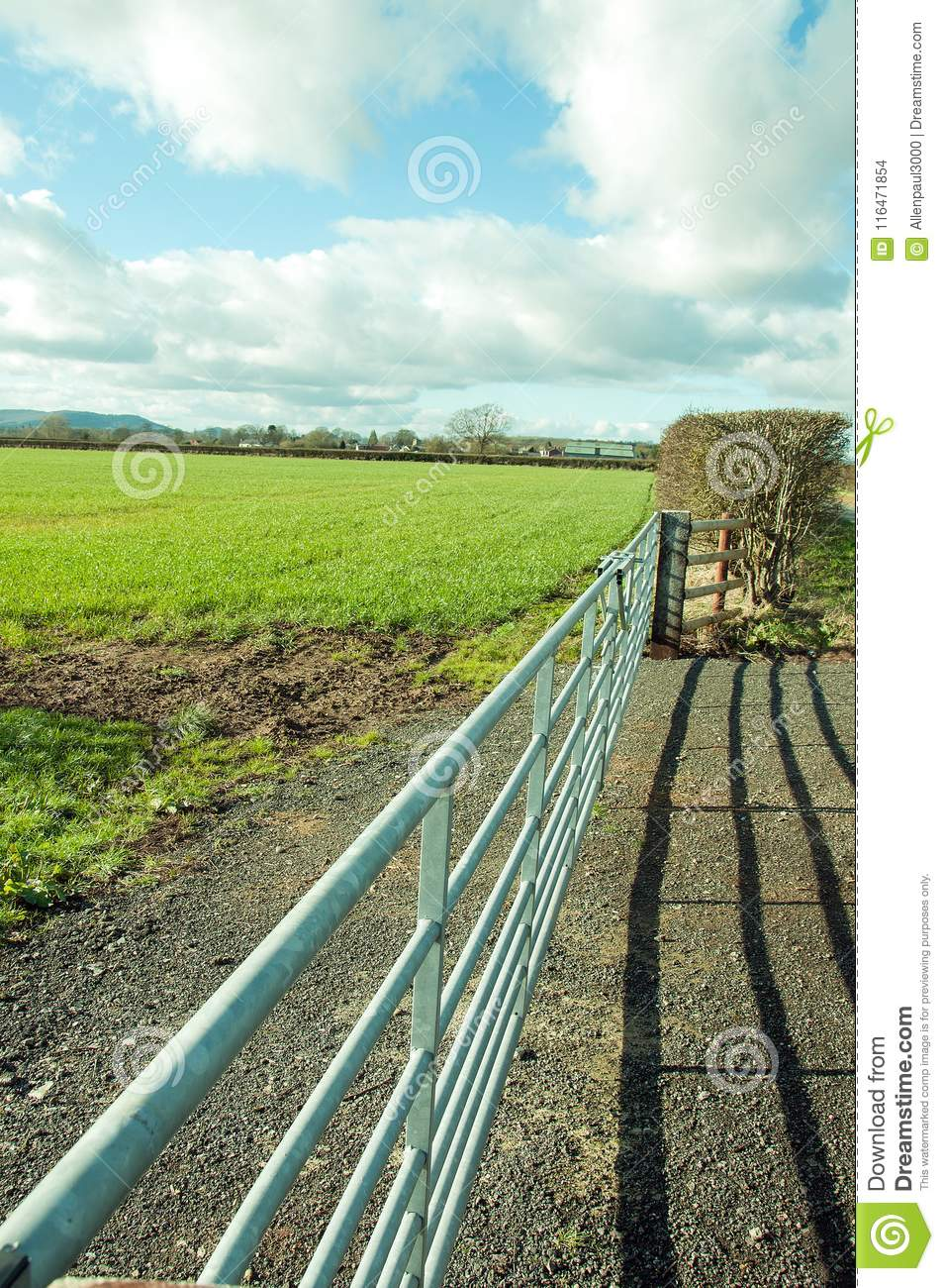 Springtime Agricultural Landscape And A Farm Gate In The