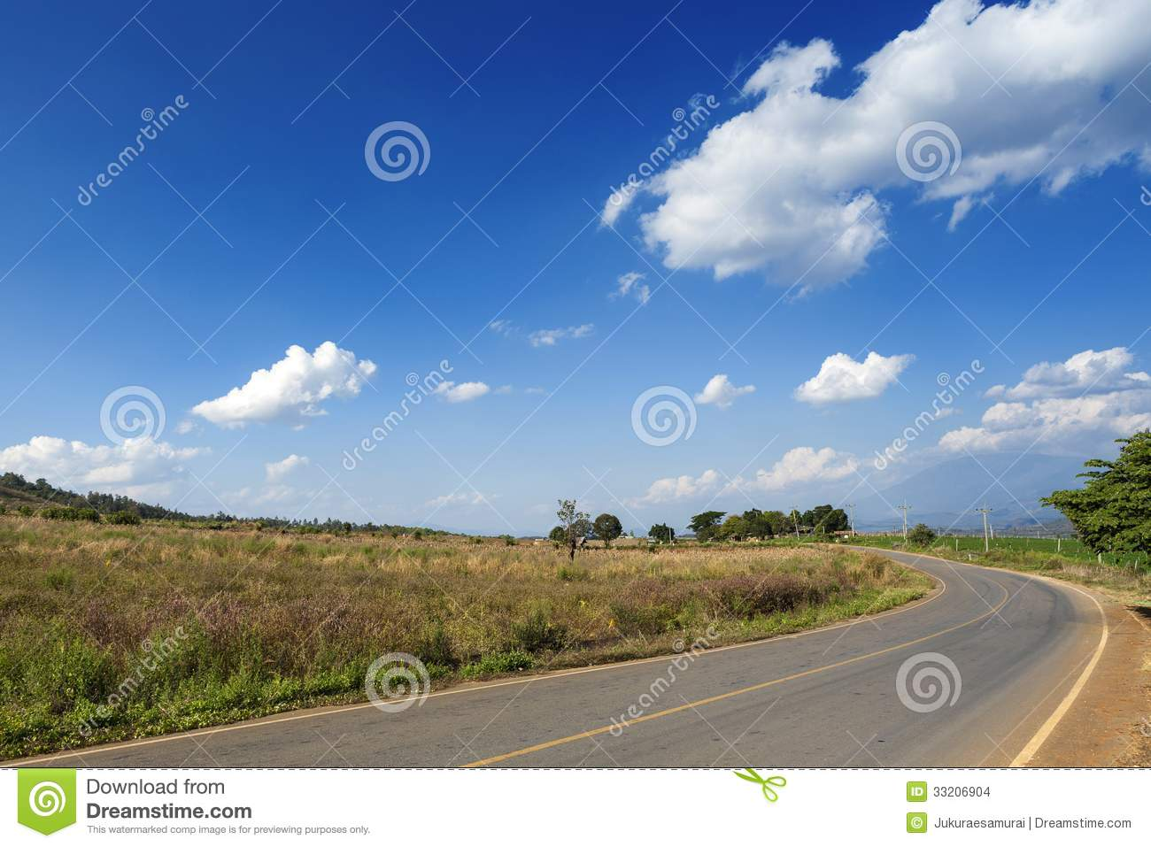 Rural street stock photo. Image of cloud, route, grass ...