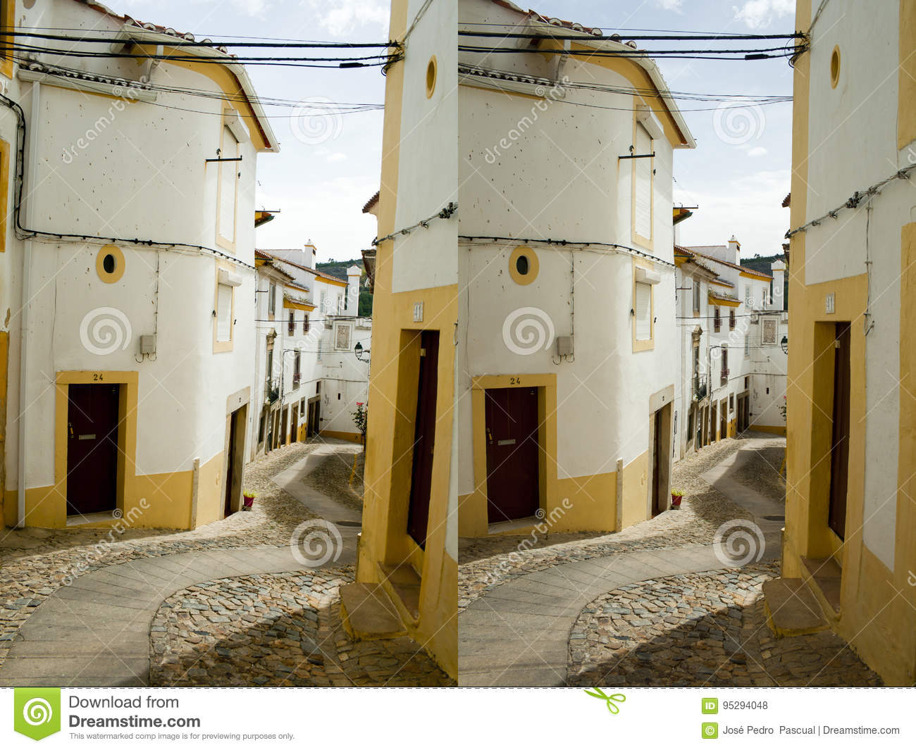 Rural Street Stereo Pair Stock Photo Image Of Village 95294048