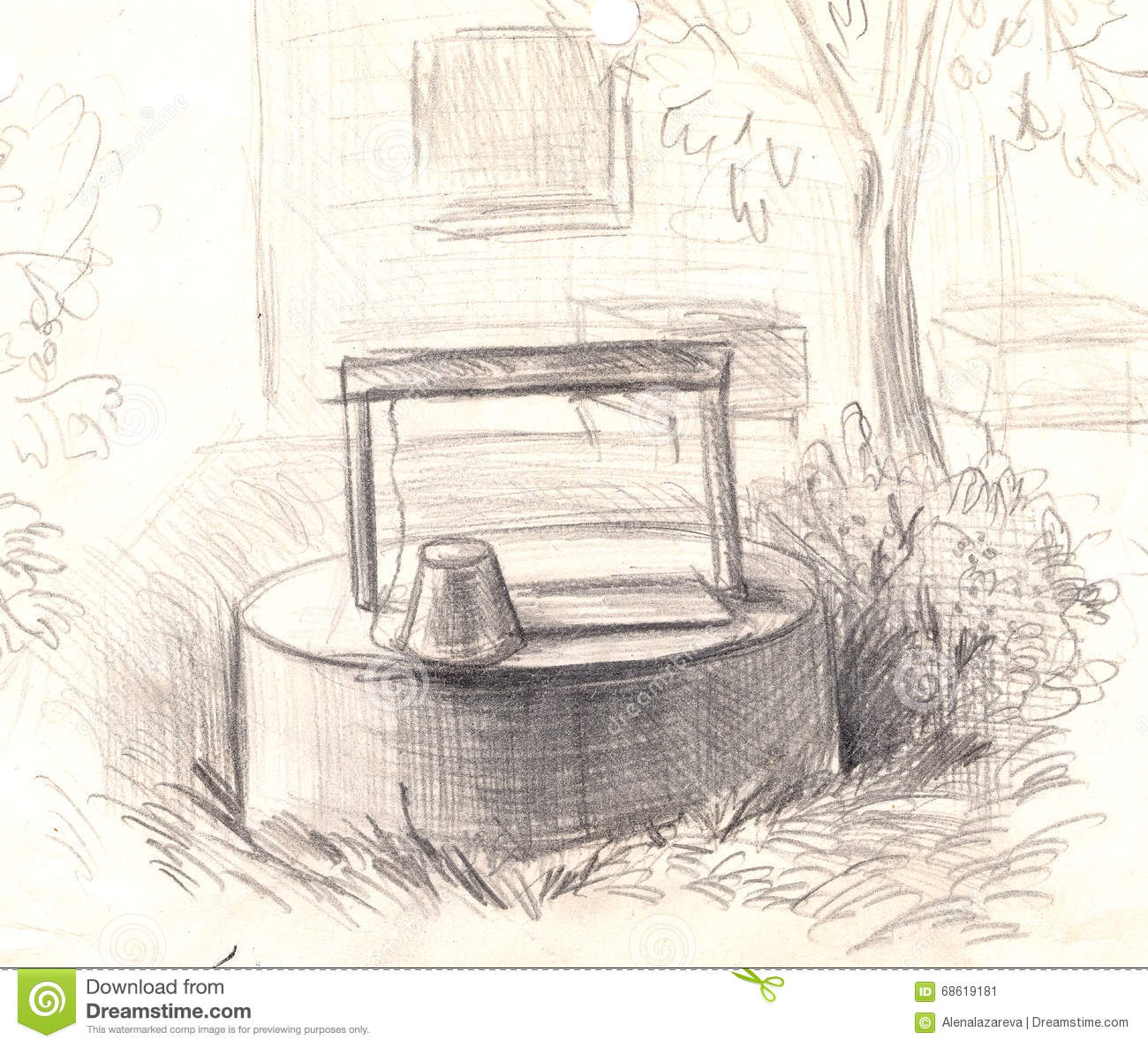 Hand painted illustration pencil drawing old water well
