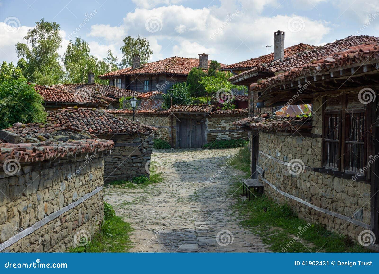 Rural winding street in the Balkans