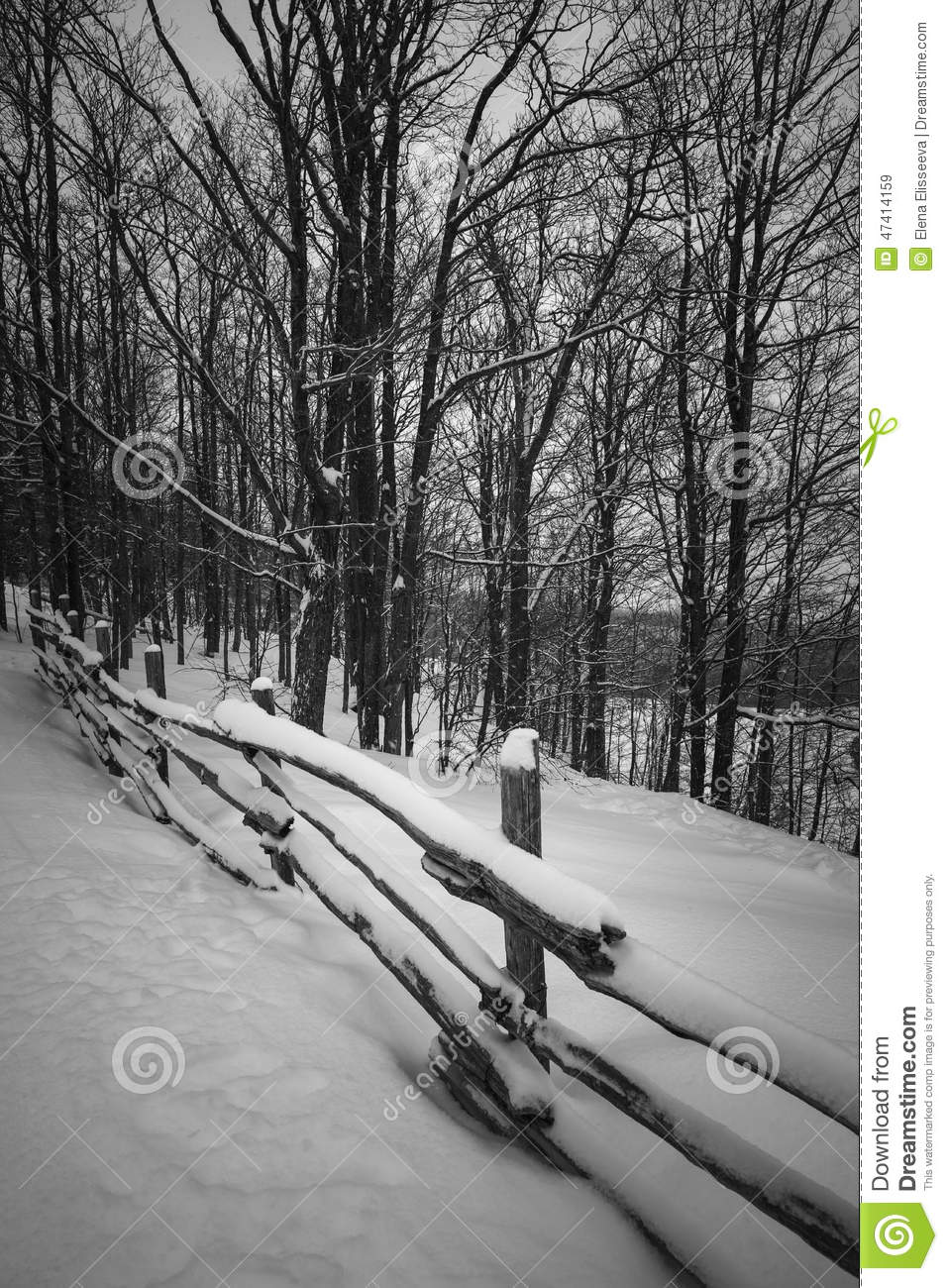 Rural Winter Scene With Fence Stock Photo - Image: 47414159