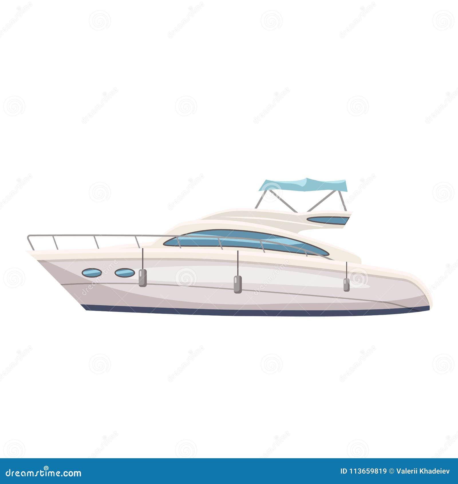 Rusa fartyget, yacht på seascapebakgrund, tecknad filmstil, vektorillustrationen som isoleras