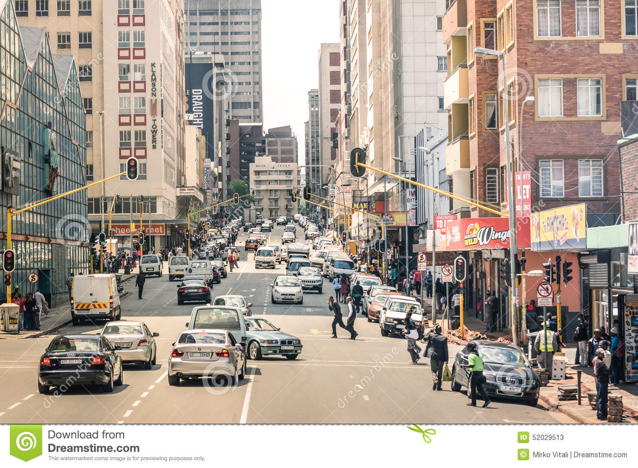 Rush hour and traffic jam in Johannesburg South Africa