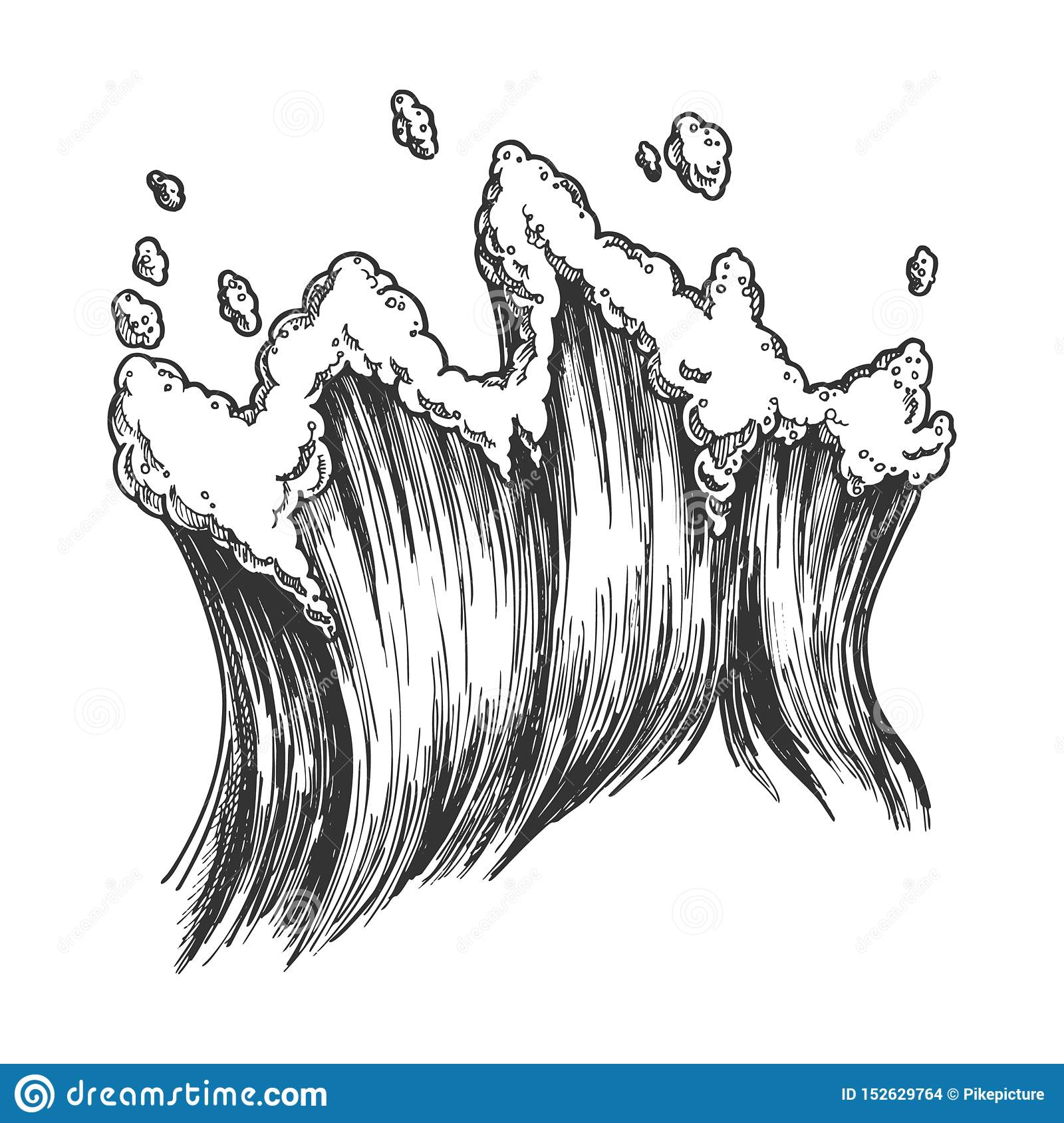 Rushing Tropical Sea Marine Wave With Drop Vector