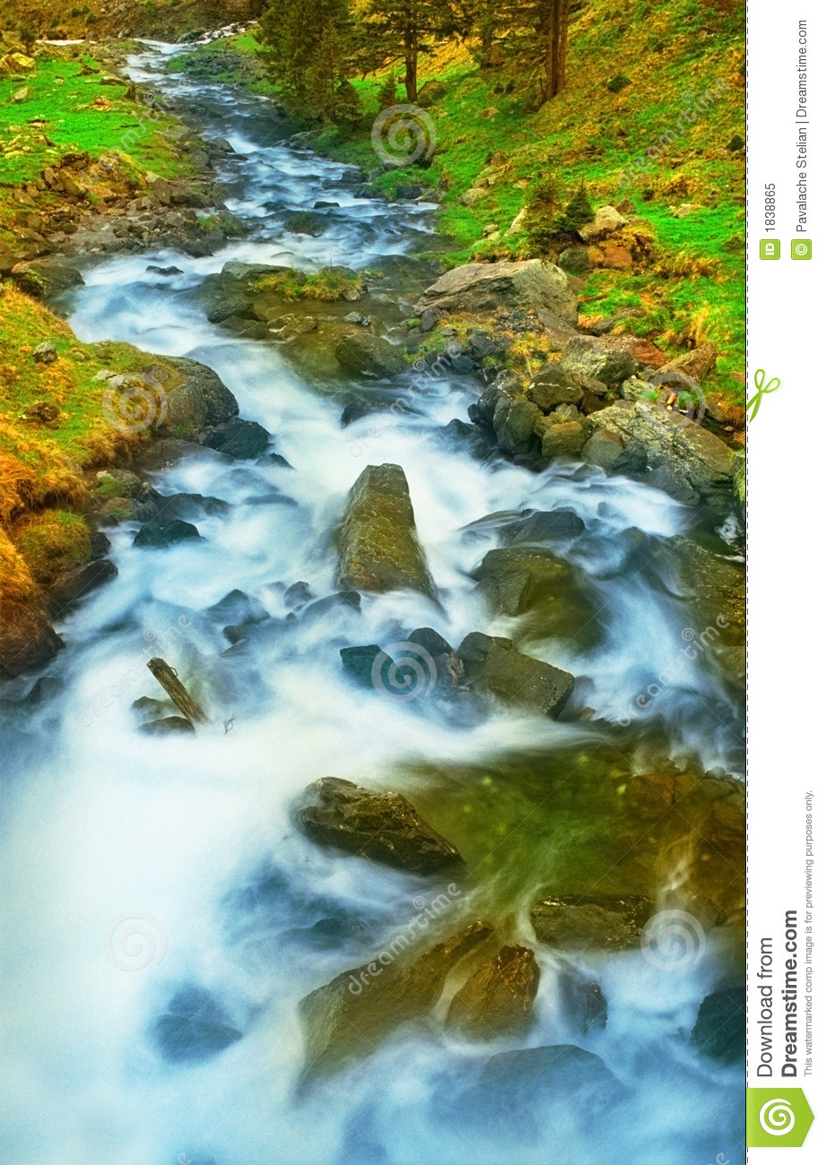 Rushing Water In A Mountain Stream Royalty Free Stock ...