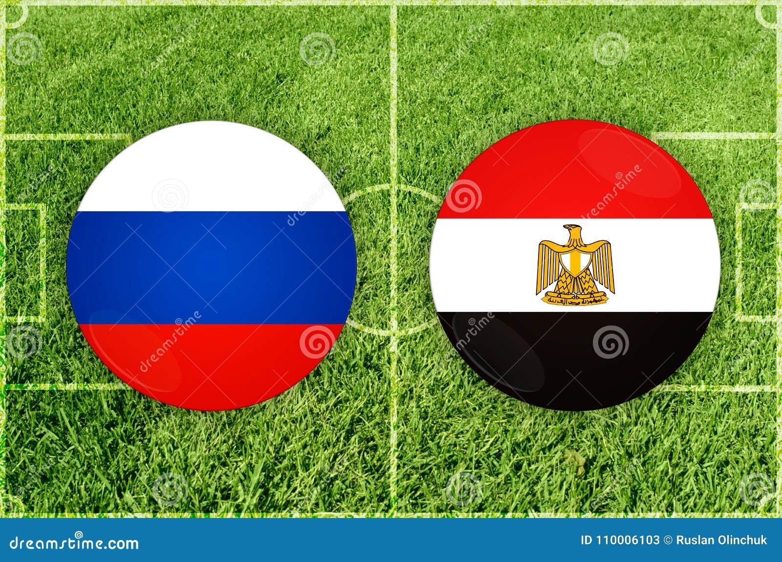 Rusia Contra Partido De Futbol De Egipto Stock De Ilustracion Ilustracion De Pais Redondo