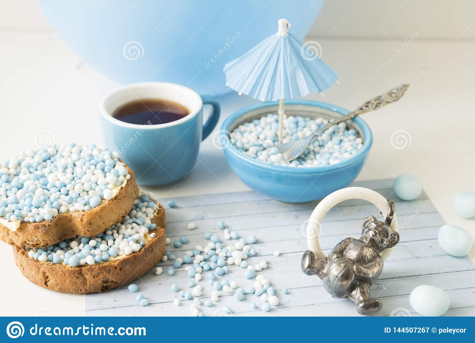Rusk with blue aniseed balls, muisjes, Dutch treat for when a baby boy is born in The Netherlands