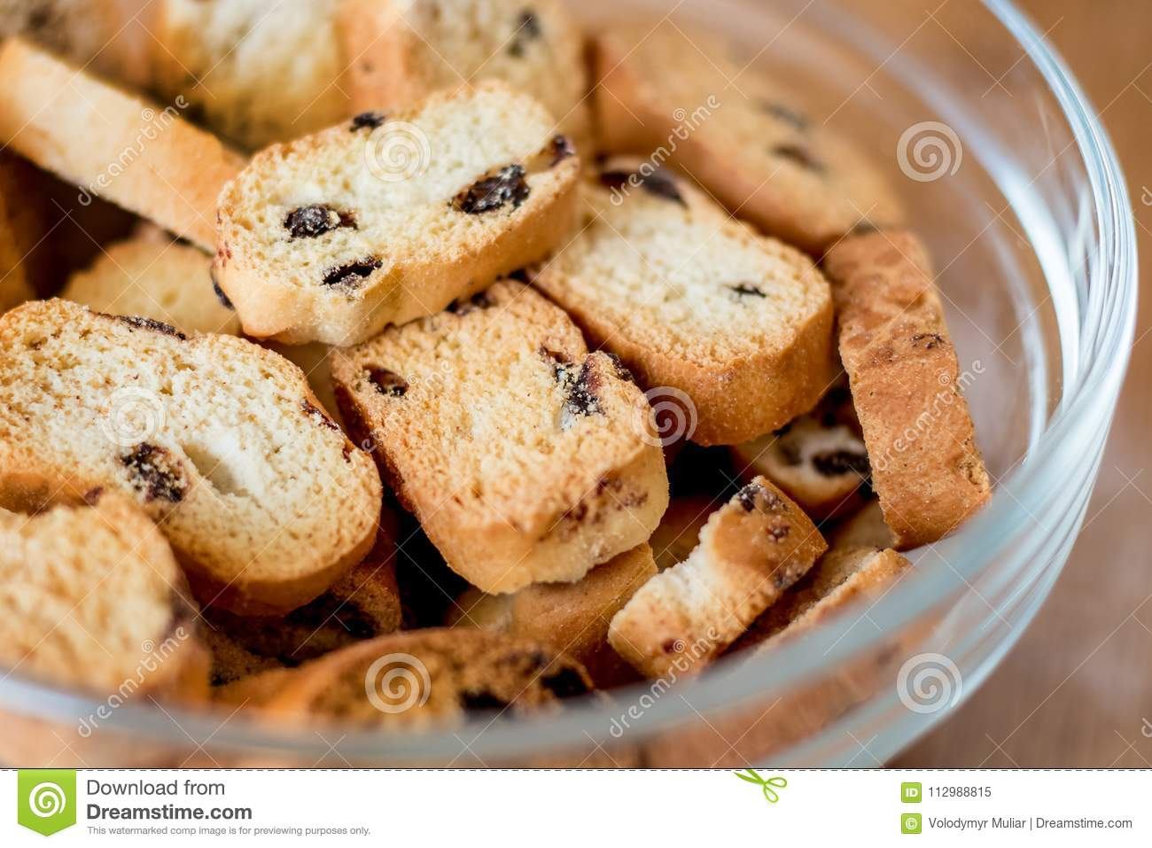 Rusks with raisins; sale and purchase of confectionery_