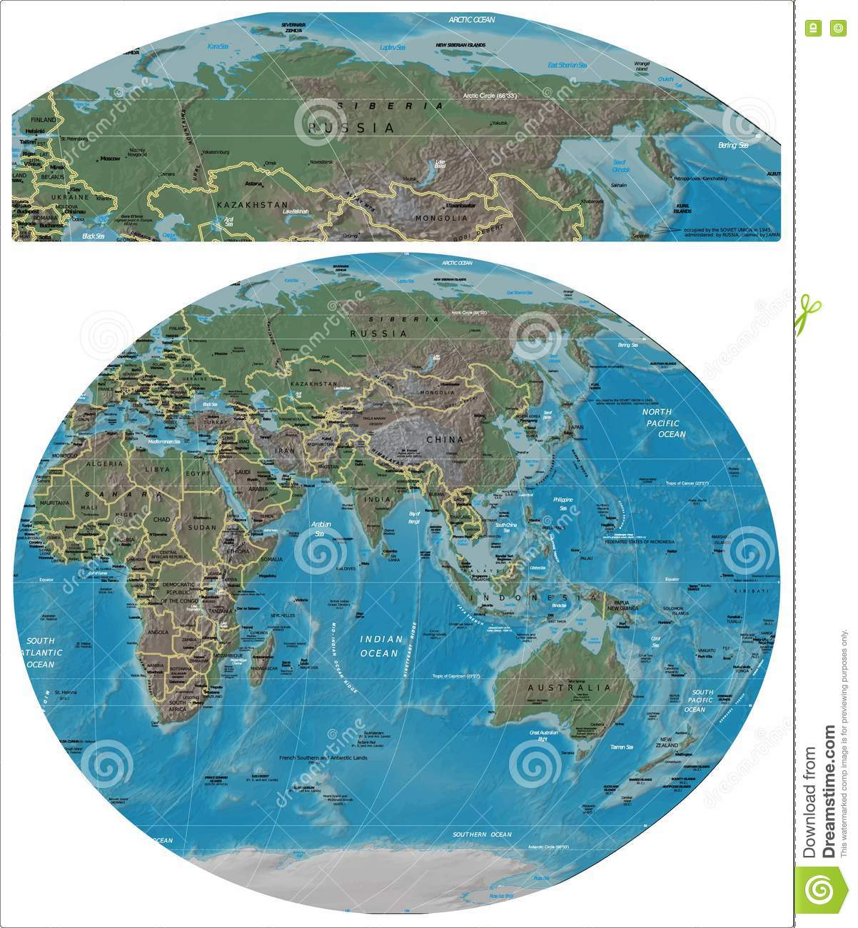 Russia And Asia Oceania Map Stock Illustration Illustration Of