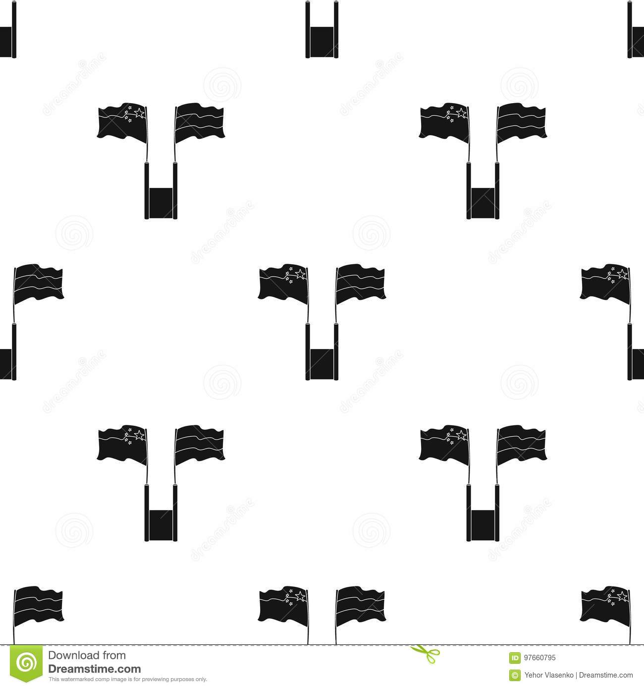 Russia And China Flags Icon In Black Style Isolated On White