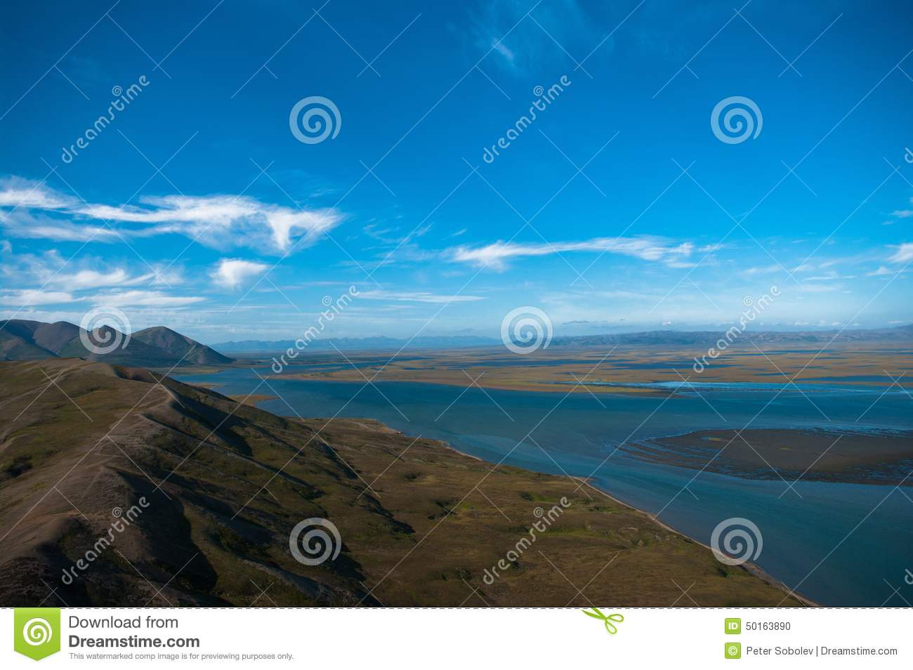 Russia. Chukotka. The coast of the Bering sea. Aerial view.