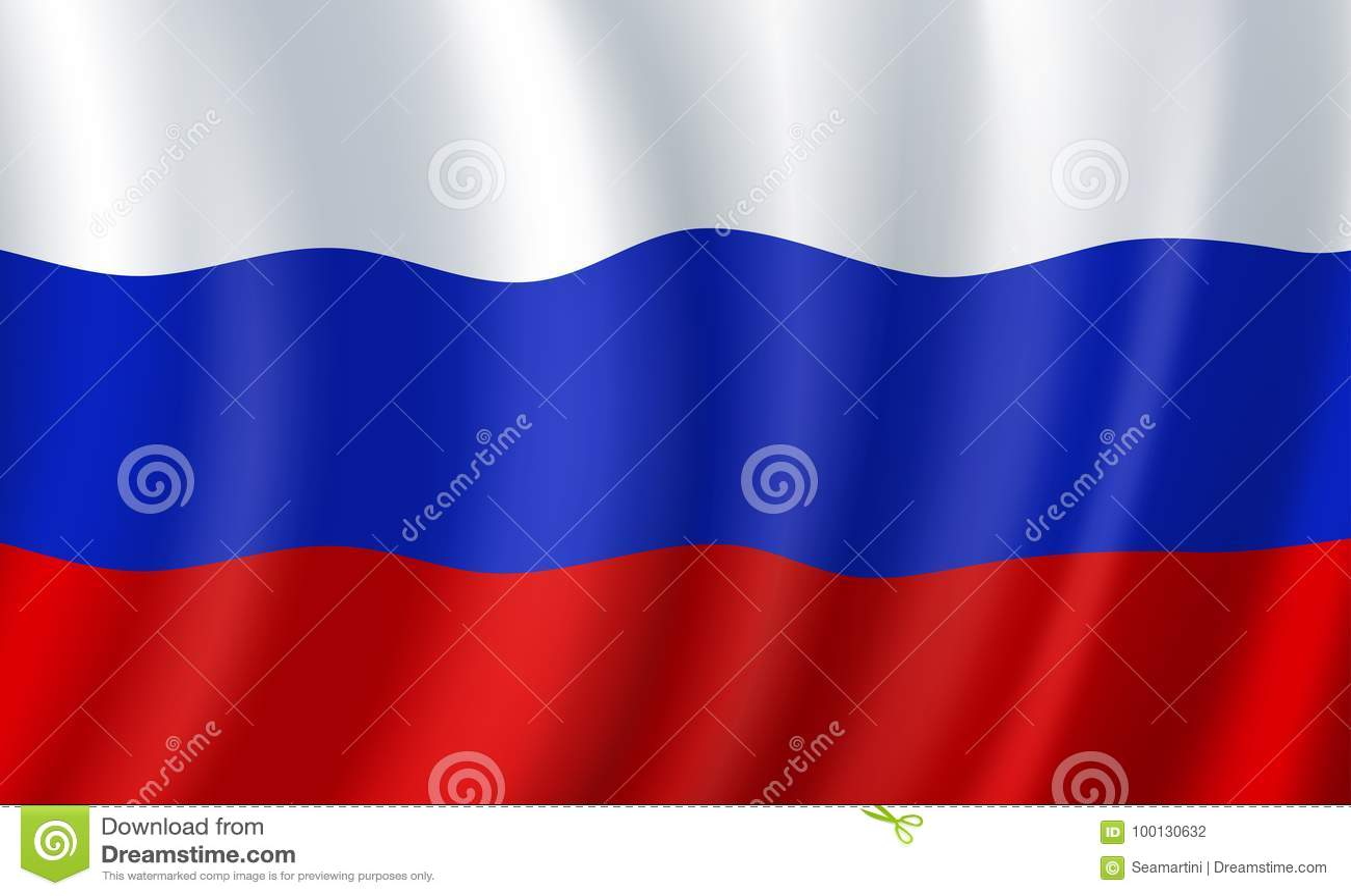 Russia 3d Flag Vector Russian National Symbol Stock Vector