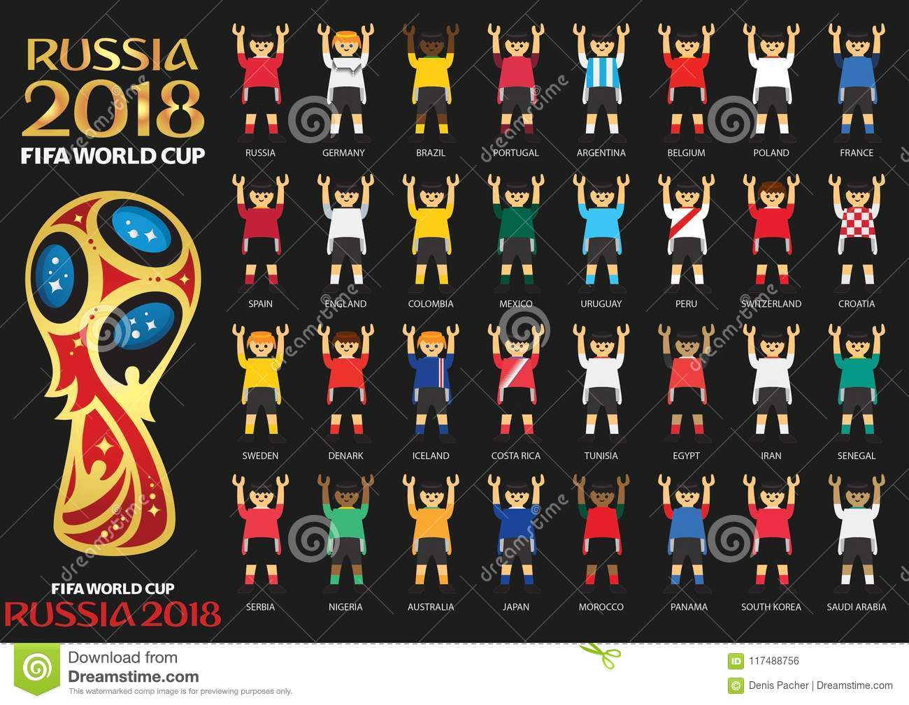Illustrated athletes wearing team jerseys for countries participating in  Russia 2018 FIFA World Cup on black. be18be971