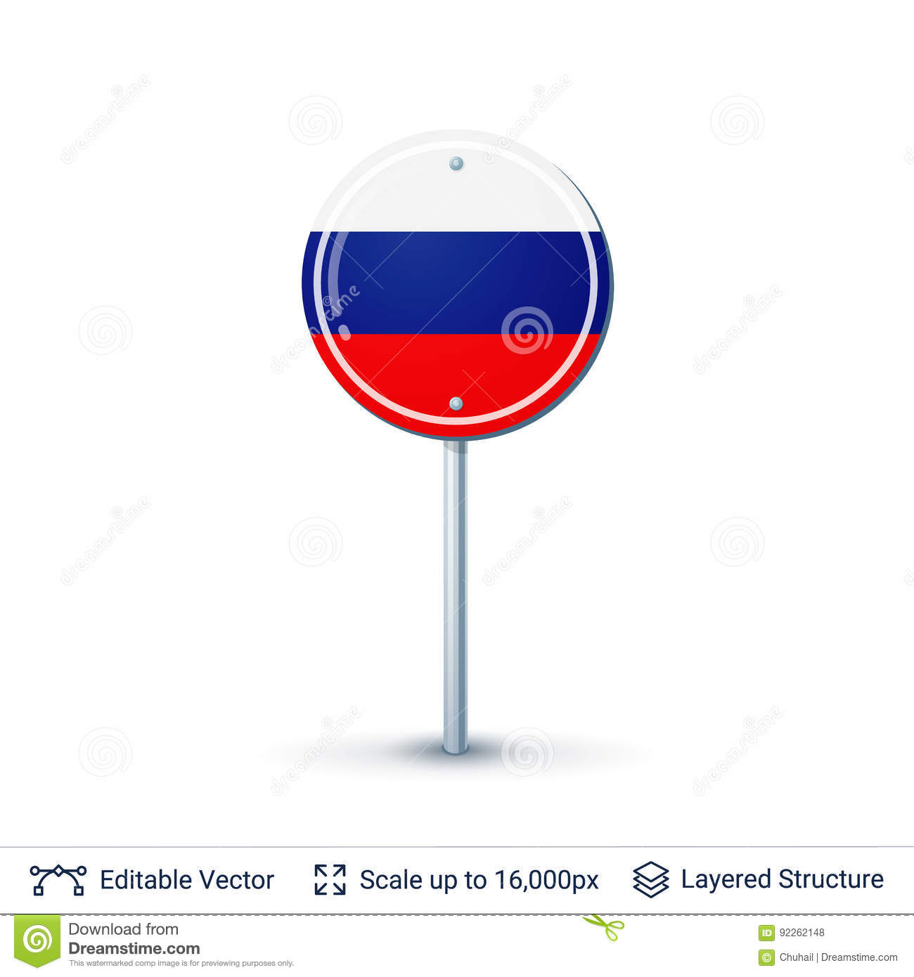 Russia Flag Isolated On White Stock Vector Illustration Of