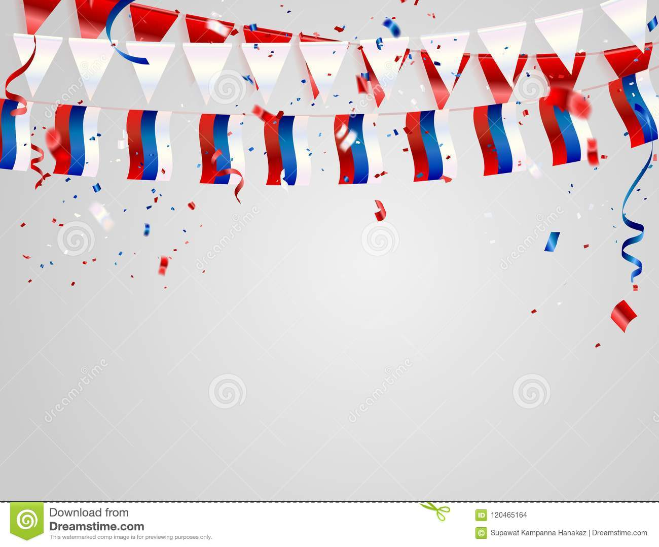 Russia Flags Celebration Background With Confetti And Red And Blue