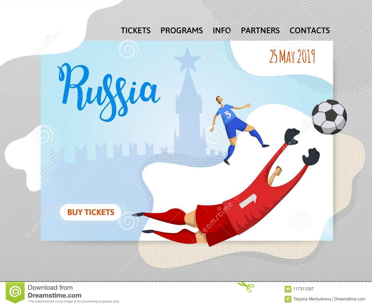 Russia And Football  Players On Historic Background  Copyspace