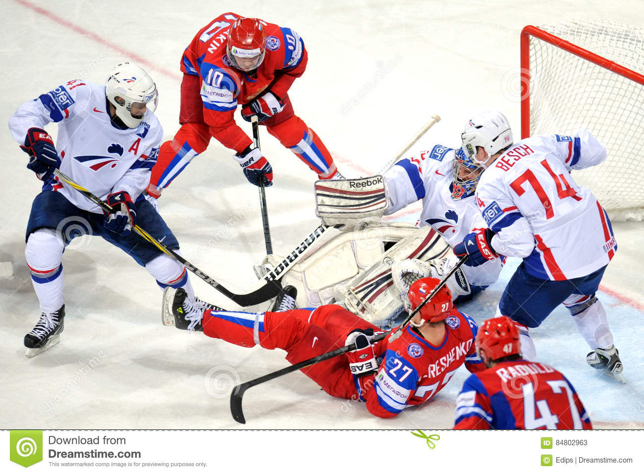 Russia And France Ice Hockey Team Editorial Stock Photo Image Of