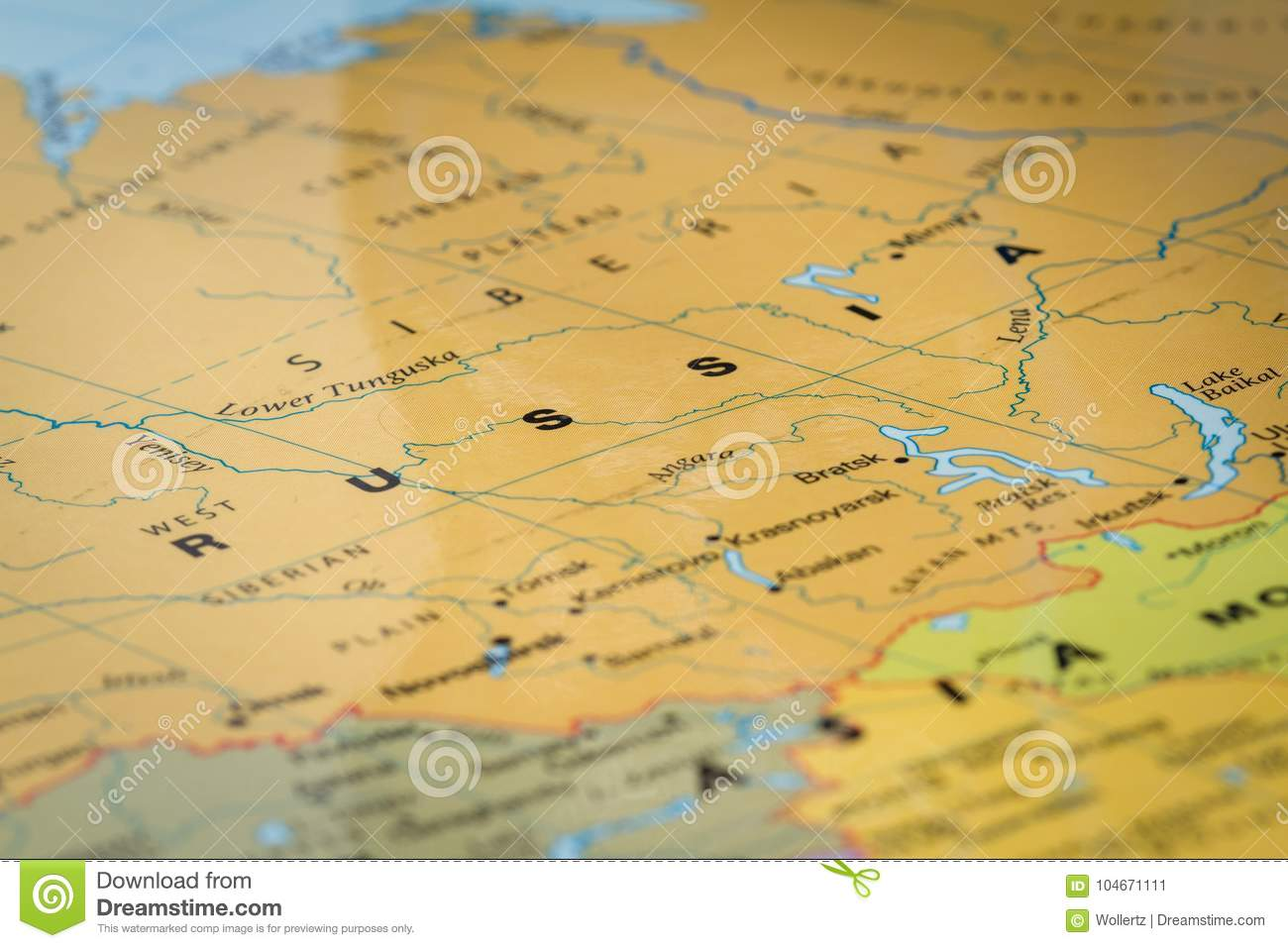 Russia On A Map Stock Image Image Of Transportation 104671111