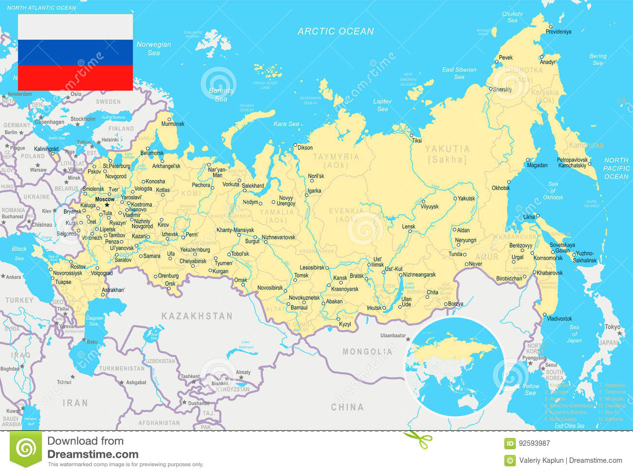 Russia - Map And Flag - Illustration Stock Illustration ...