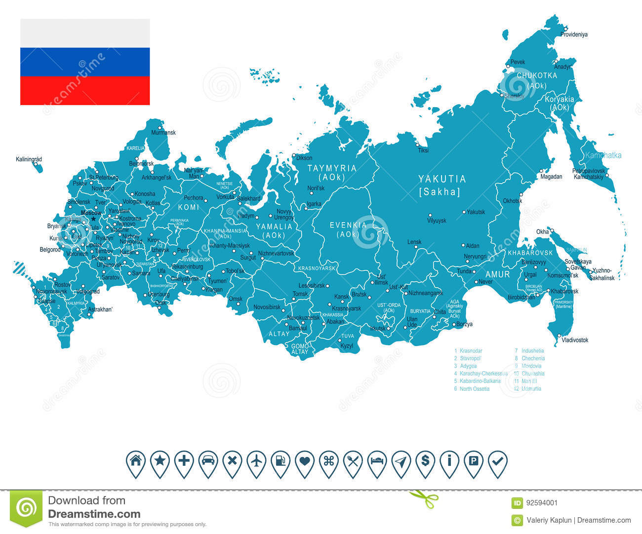 Russia Map And Flag Illustration Stock Illustration
