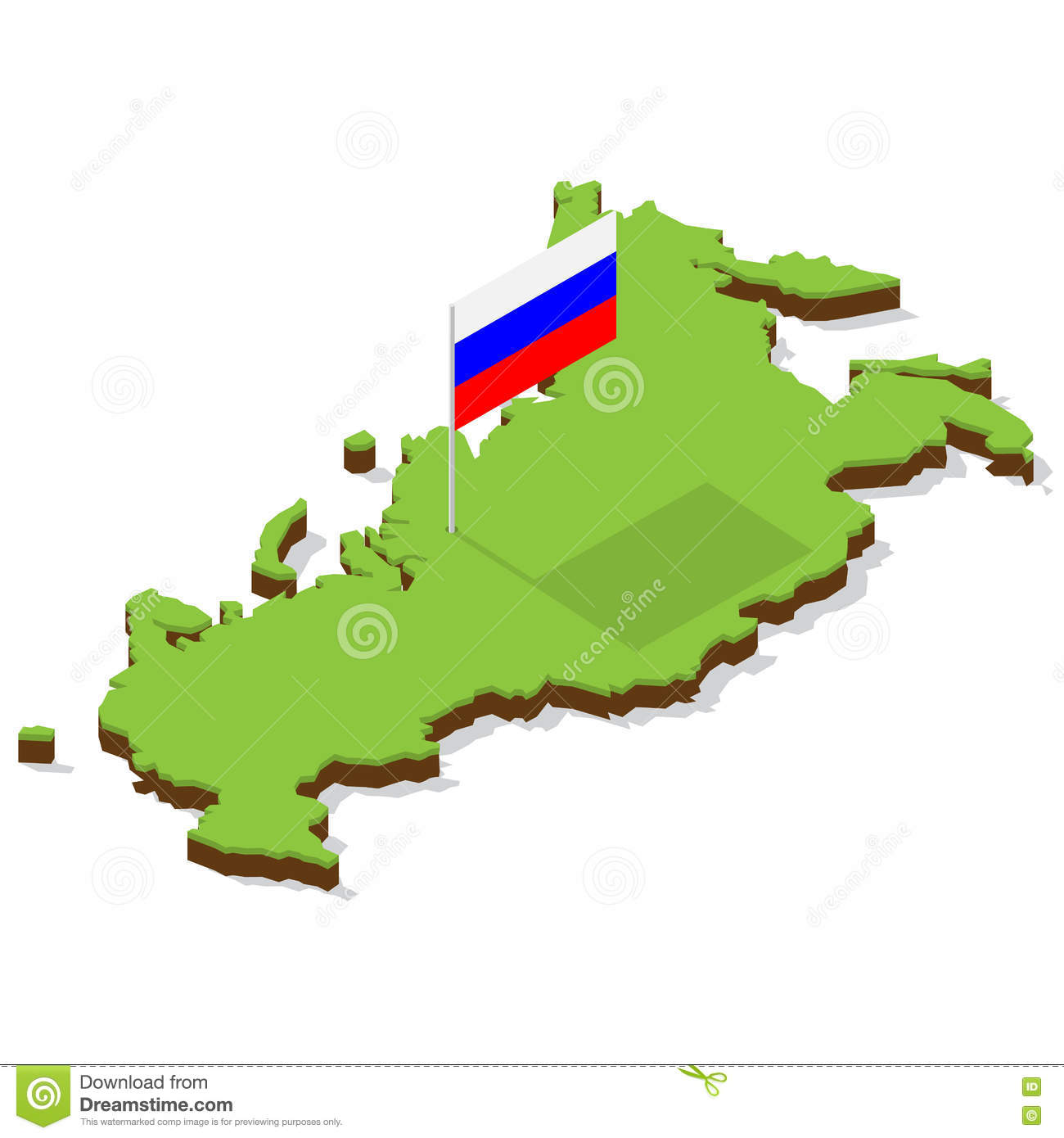 Russia map with flag isometric