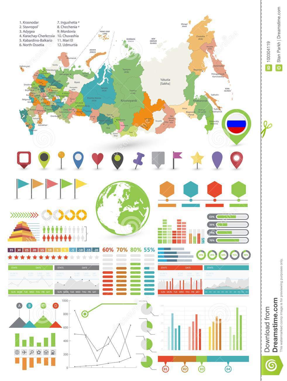 Russia Map And Infographics Design Elements Stock Vector ... on flat united states map, flat eurasia map, flat great britain map, flat country map, flat europe map, flat us map, flat africa map, flat world maps,