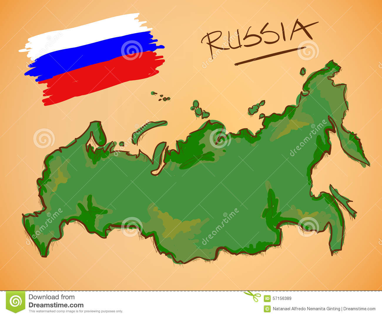 Russia Map National Flag Vector Digital Painting Ginting
