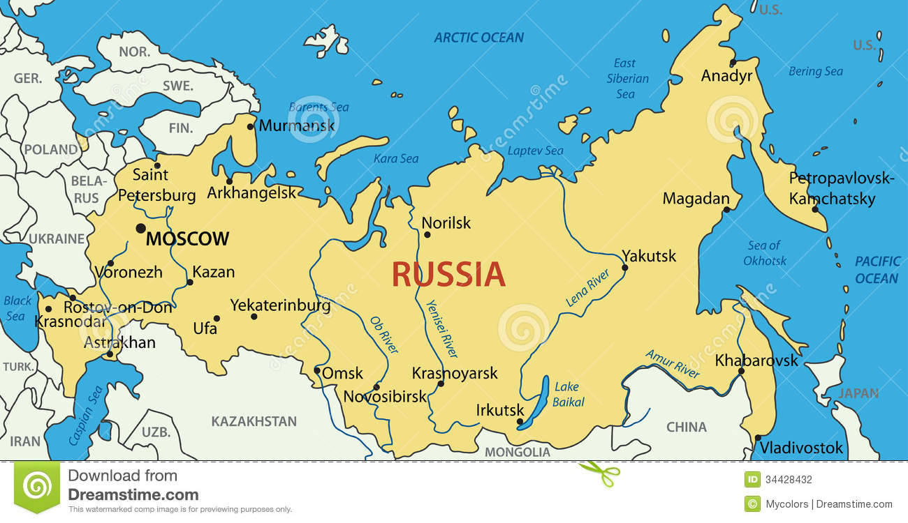 Russia - vector map stock vector. Illustration of picture - 34428432