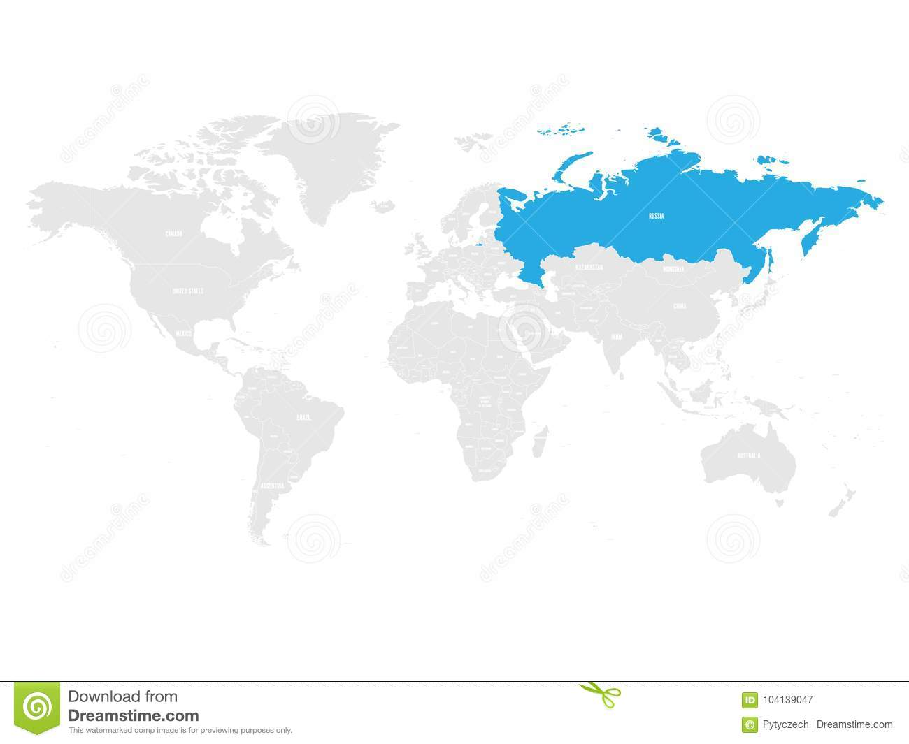 Russia Marked By Blue In Grey World Political Map. Vector ...