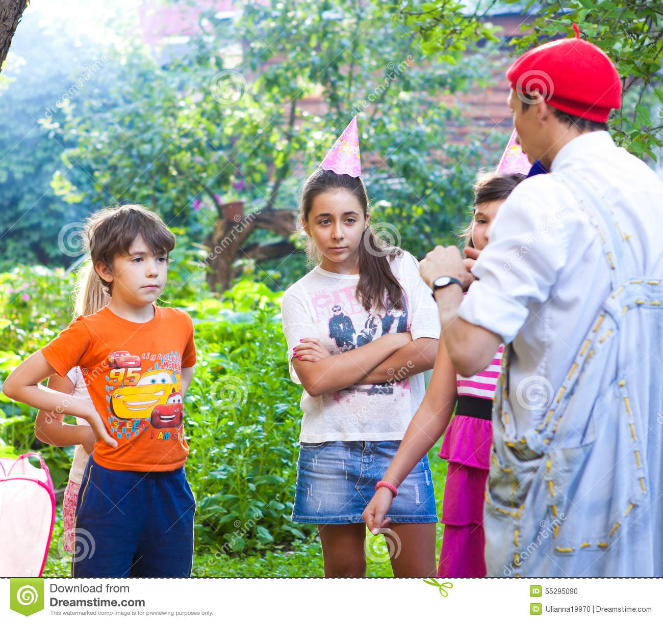 RUSSIA, MOSCOW, JULY 22, 2014: Country kids celebrate birthday p