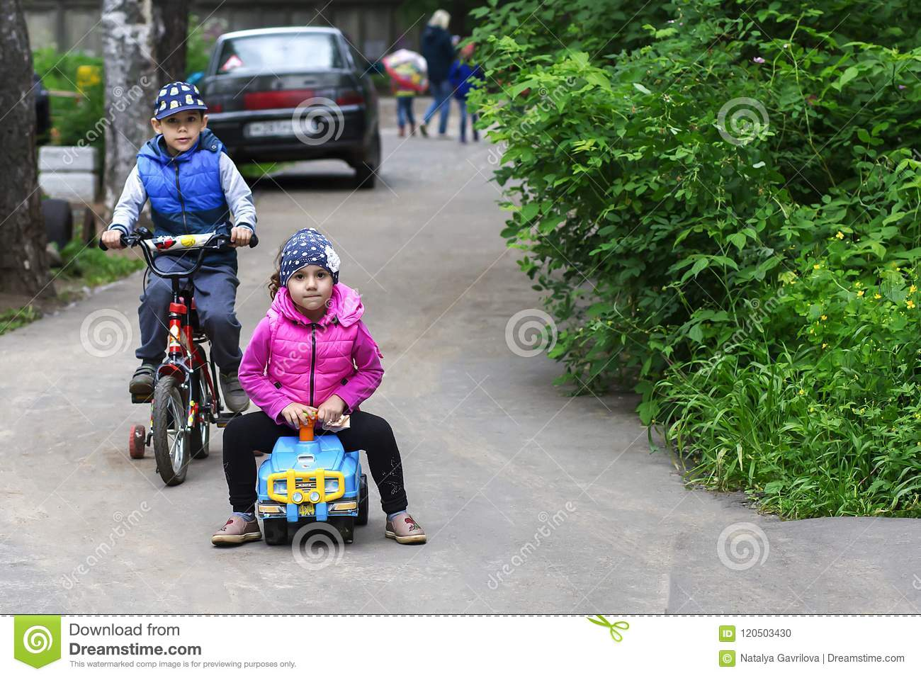 Russia,Moscow, 13 June 2018, children Cycling, editorial