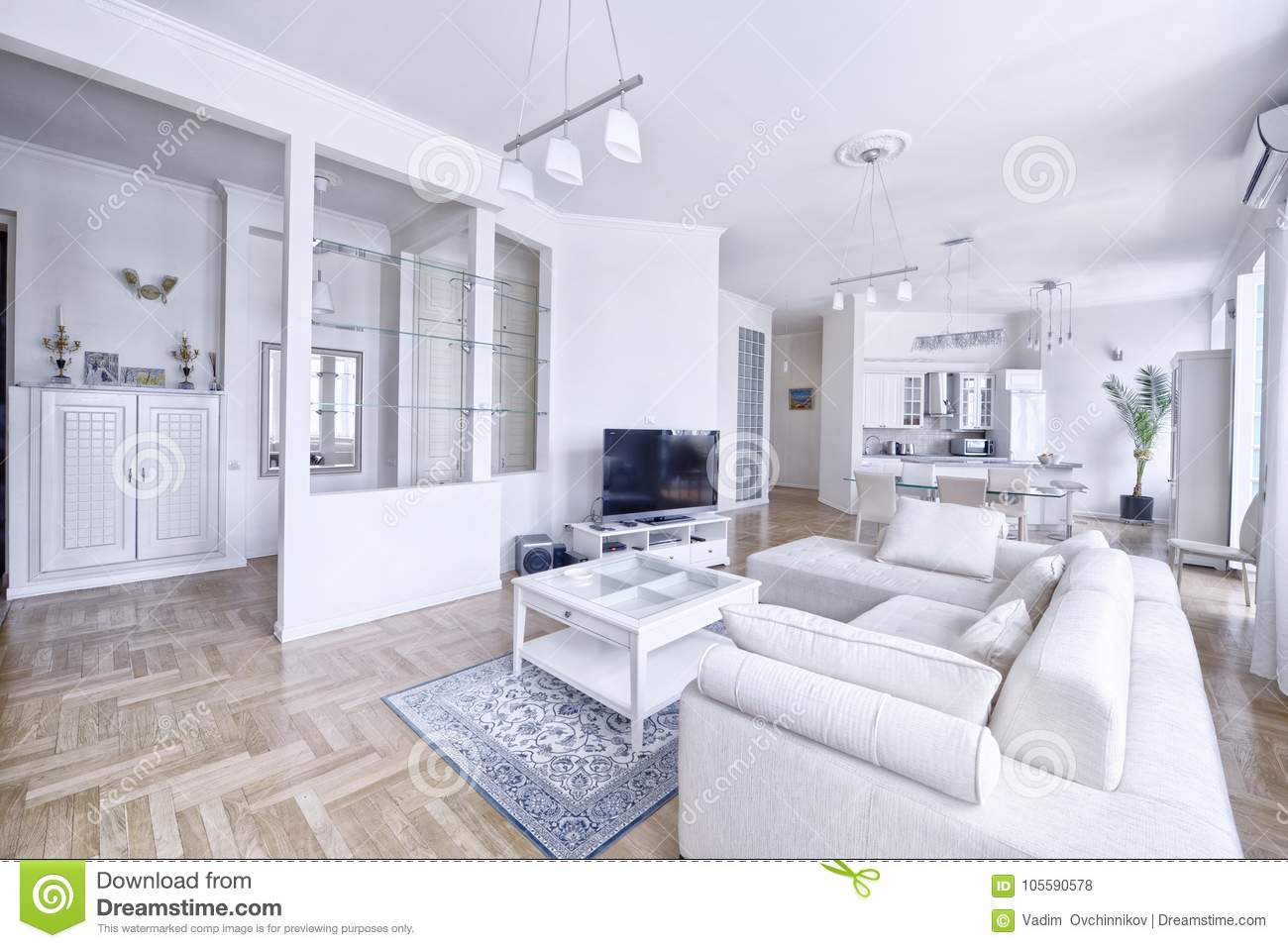 Interior Of The Living Room In A Spacious Apartment In Bright Colors ...