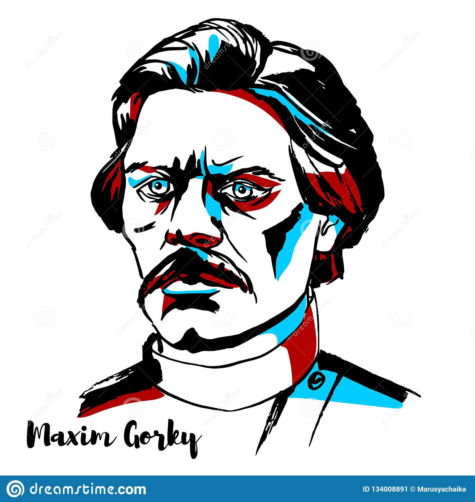 b3475f9fc8dc Maxim Gorky Portrait editorial photo. Illustration of drawing ...