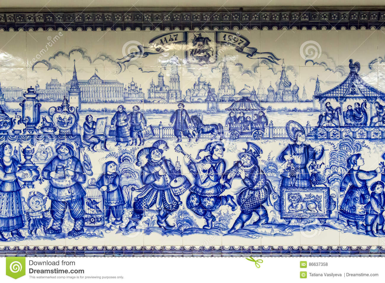 Russia, Moscow: Tile Panels, Made In The Technique Of Gzhel. Subway ...