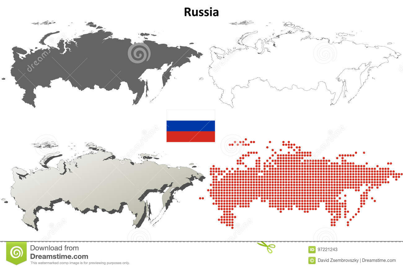 Russia Outline Map Set Stock Vector Illustration Of Boundary 97221243