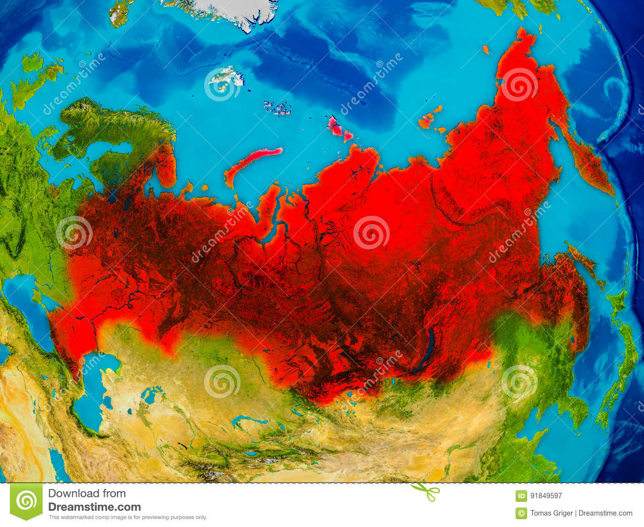 Image of: Russia On Physical Map Stock Illustration Illustration Of Russian 91849597