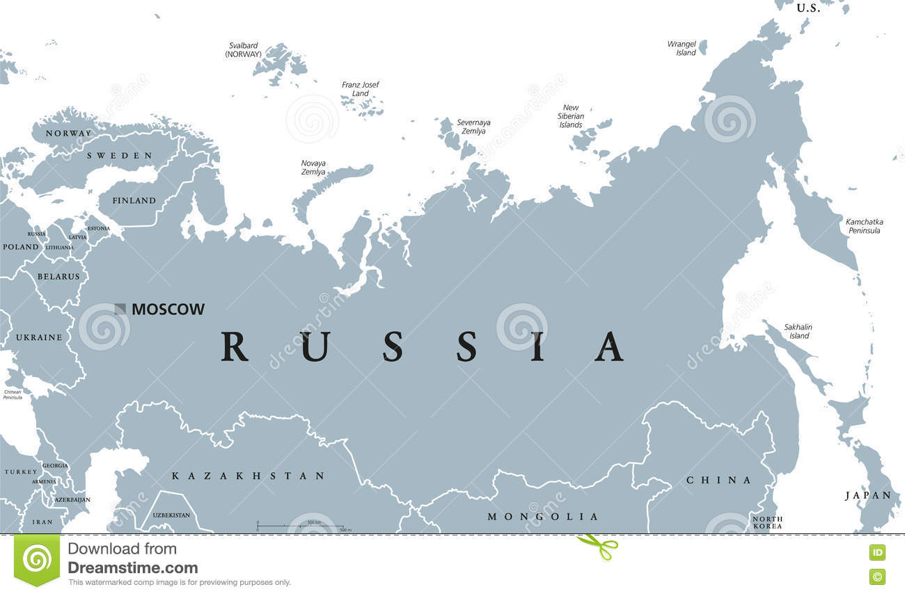 Russia Political Map Stock Vector Illustration Of Labeling 82697950