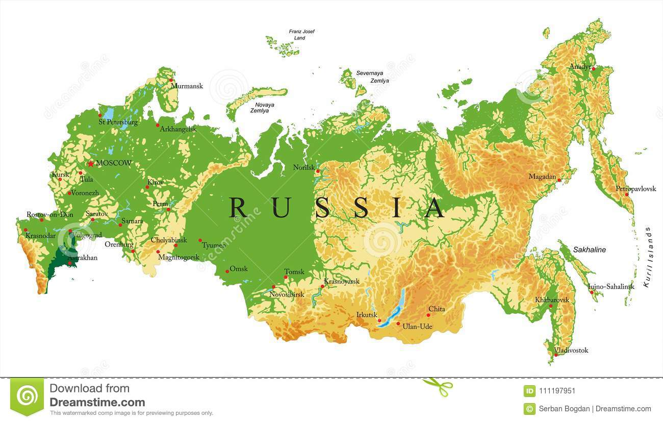 Image of: Russia Relief Map Stock Vector Illustration Of Europe 111197951