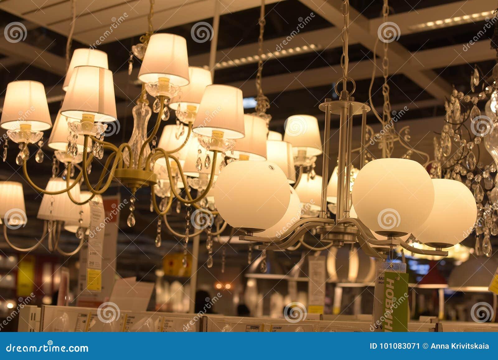 Russia saint petersburg 15032015 various lighting fixtures lamps and nightlights in the ikea store