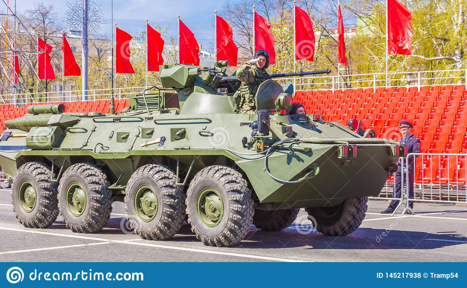 Samara, May 2018: BTR-82 armored personnel carrier on a summer sunny day