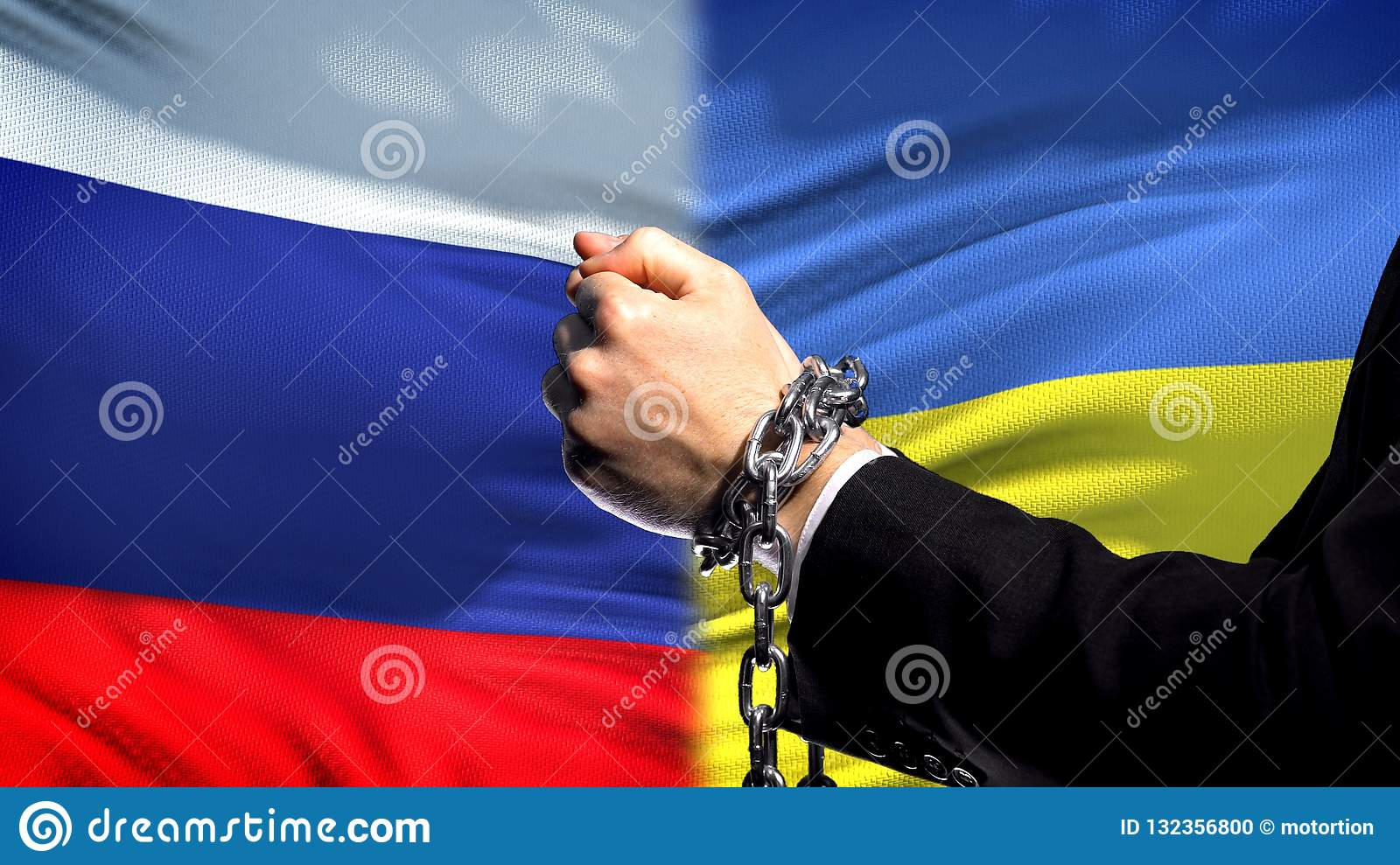 Russia sanctions Ukraine, chained arms, political or economic conflict, business