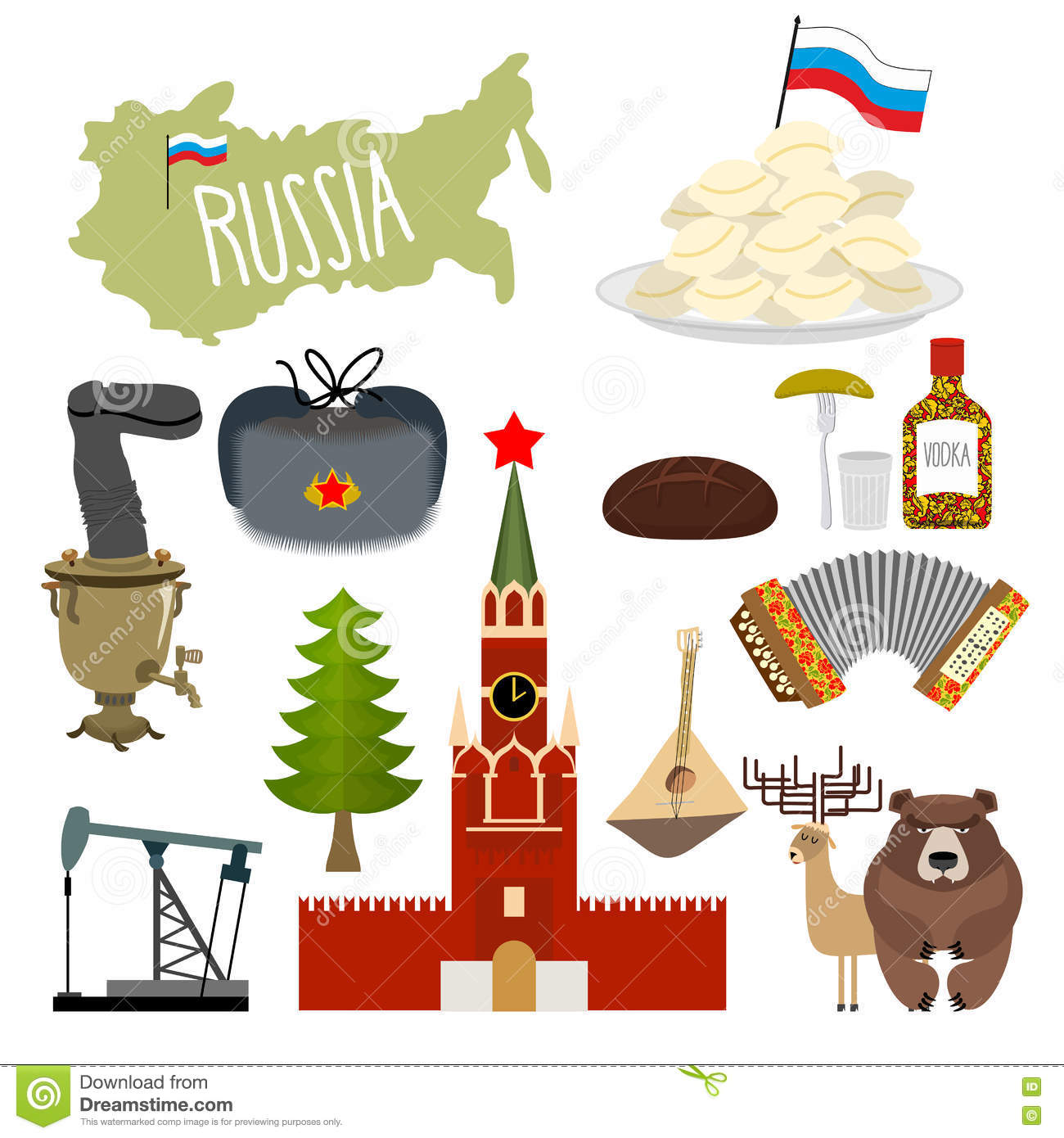russian culture icons set stock illustration image  russia set icons traditional objects of country russian nation stock images