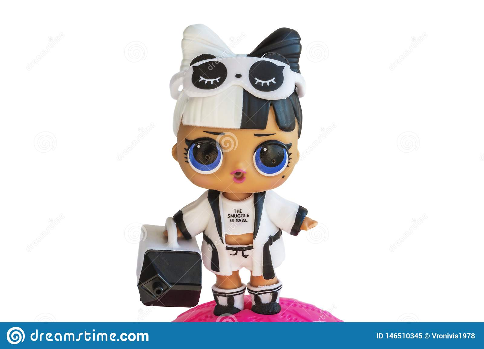 Russia, Severodvinsk, 04.20.2019. Cute little L.O.L. Surprise doll with accessories. Her name is Snuggle babe. Isolate