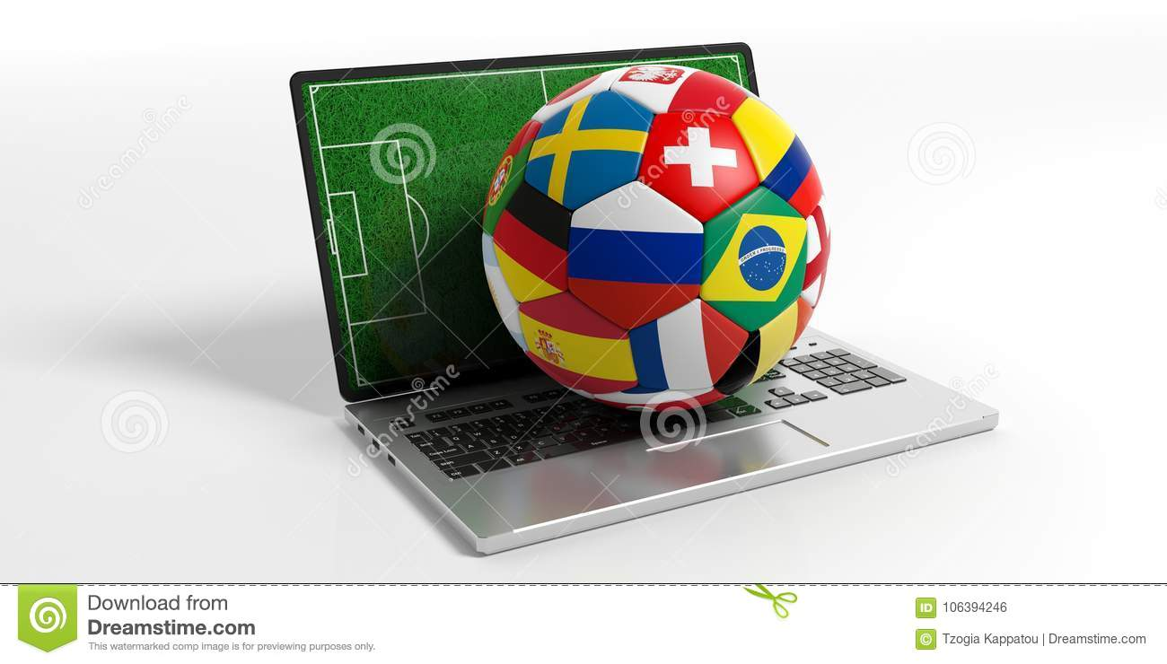 Soccer Football Ball With World Flags On A Computer Isolated On