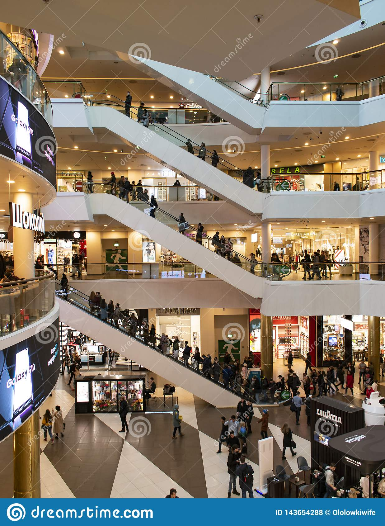 Russia, St. Petersburg, March 27, 2019. Interior of a modern shopping center