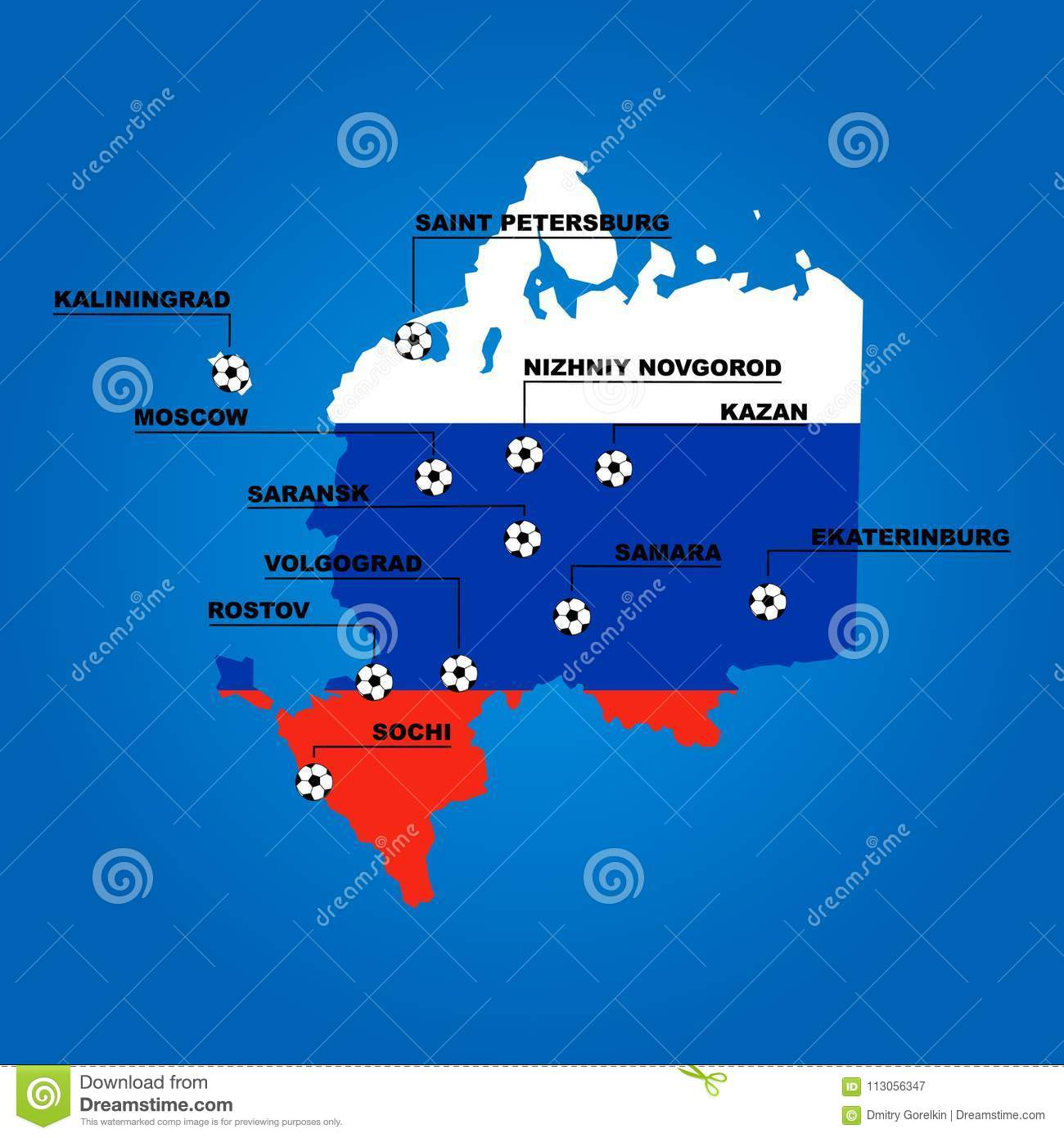 Russia Stadiums Cities On Map Is Russian Flag Editorial Photography ...